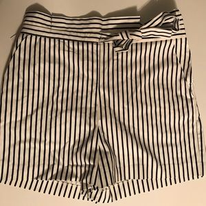 Navy Stripped High-Rise Paperbag Shorts